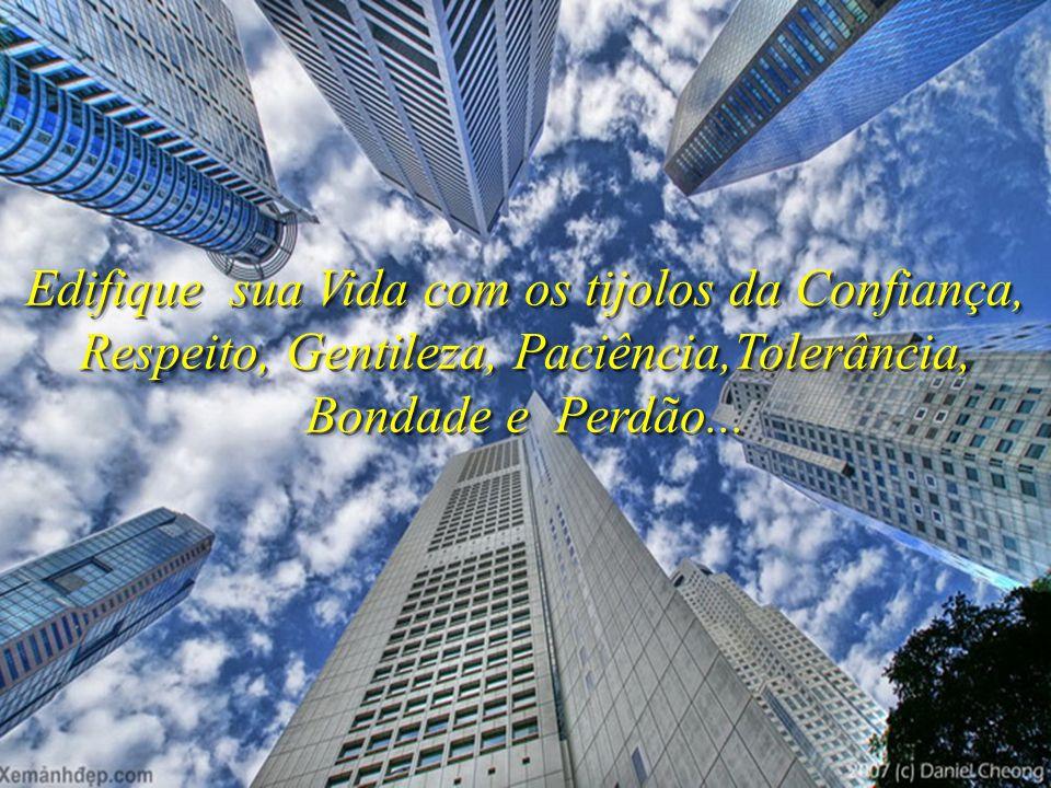Edifique sua Vida com os tijolos da Confiança, Respeito, Gentileza, Paciência,Tolerância, Bondade e Perdão...