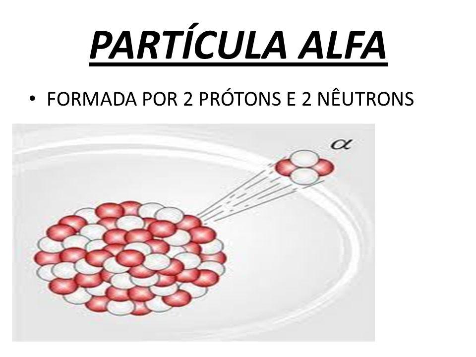 PARTÍCULA ALFA FORMADA POR 2 PRÓTONS E 2 NÊUTRONS
