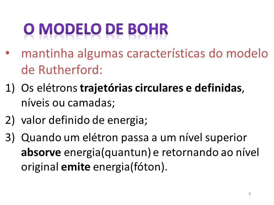 8 mantinha algumas características do modelo de Rutherford: 1)Os elétrons trajetórias circulares e definidas, níveis ou camadas; 2)valor definido de e