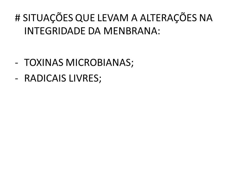 # SITUAÇÕES QUE LEVAM A ALTERAÇÕES NA INTEGRIDADE DA MENBRANA: -TOXINAS MICROBIANAS; -RADICAIS LIVRES;
