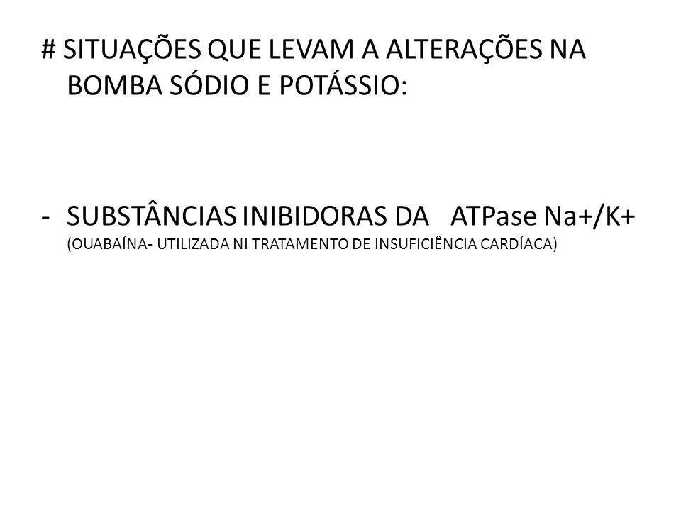 # SITUAÇÕES QUE LEVAM A ALTERAÇÕES NA BOMBA SÓDIO E POTÁSSIO: -SUBSTÂNCIAS INIBIDORAS DA ATPase Na+/K+ (OUABAÍNA- UTILIZADA NI TRATAMENTO DE INSUFICIÊNCIA CARDÍACA)