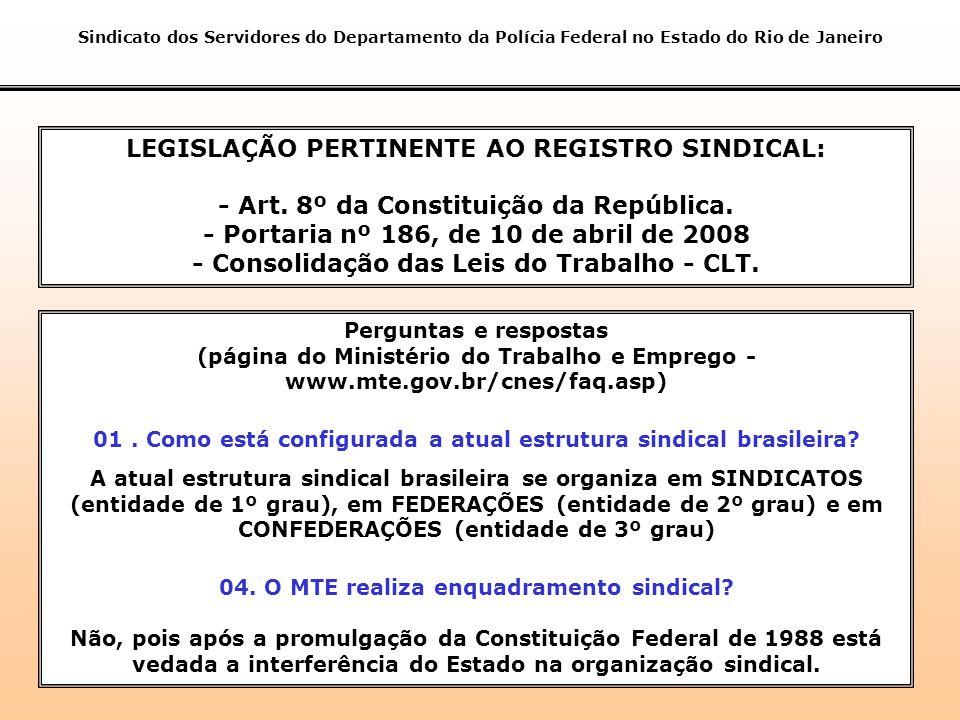 LEGISLAÇÃO PERTINENTE AO REGISTRO SINDICAL: - Art.