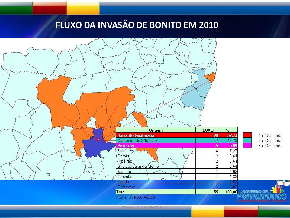 Fonte: SI-AIH/DATASUS FLUXO DA INVASÃO DE BONITO EM 2010 OrigemFLUXO% Barra de Guabiraba2952,73 1a. Demanda Camocim de São Félix712,73 2a. Demanda Bez