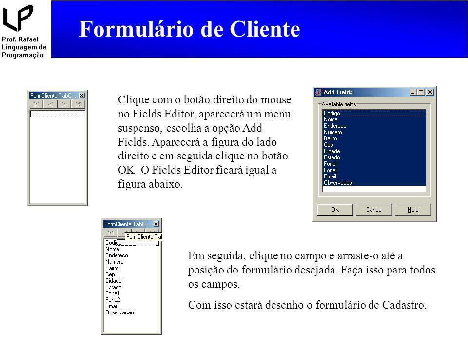 Clique com o botão direito do mouse no Fields Editor, aparecerá um menu suspenso, escolha a opção Add Fields. Aparecerá a figura do lado direito e em