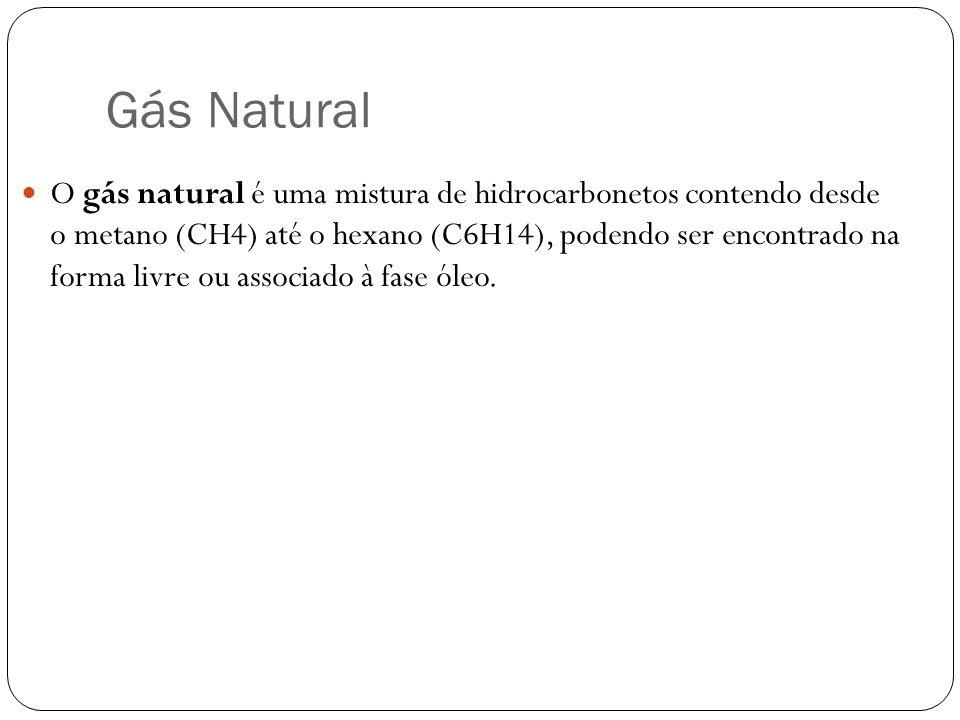 Gás Natural O gás natural é uma mistura de hidrocarbonetos contendo desde o metano (CH4) até o hexano (C6H14), podendo ser encontrado na forma livre ou associado à fase óleo.