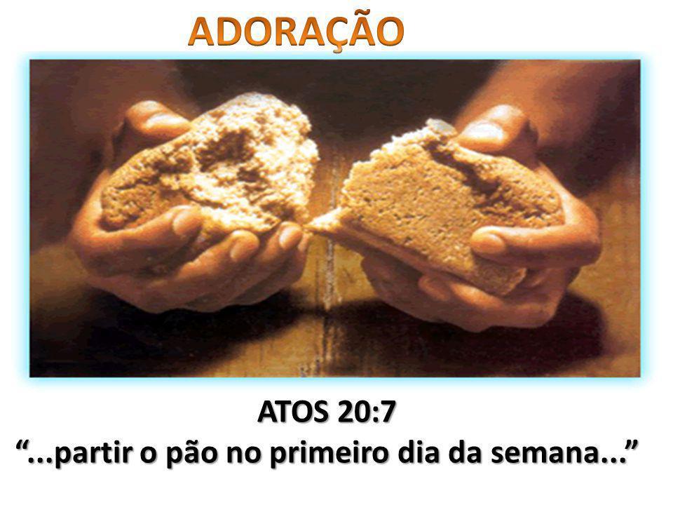 ATOS 20:7...partir o pão no primeiro dia da semana...