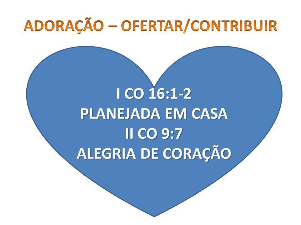 I CO 16:1-2 PLANEJADA EM CASA II CO 9:7 ALEGRIA DE CORAÇÃO