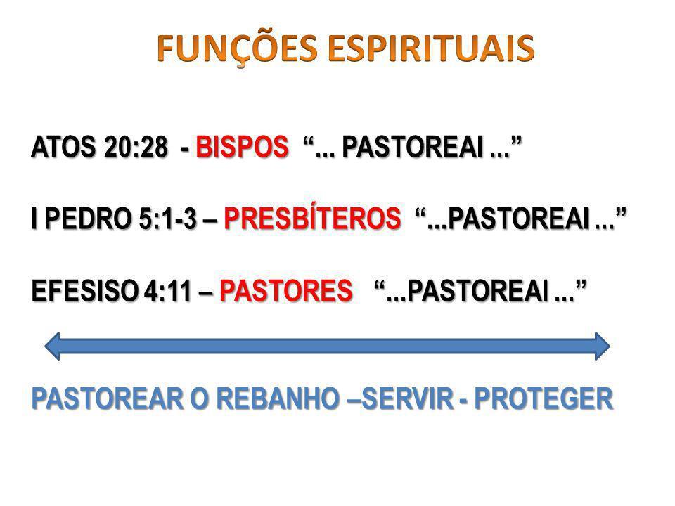 ATOS 20:28 - BISPOS...PASTOREAI... I PEDRO 5:1-3 – PRESBÍTEROS...PASTOREAI...