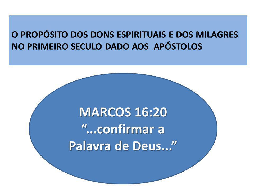 MARCOS 16:20...confirmar a Palavra de Deus...
