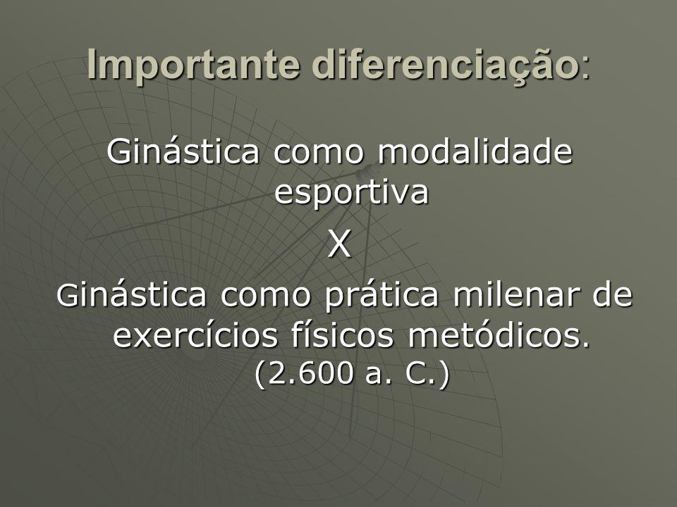 Importante diferenciação: Ginástica como modalidade esportiva X G inástica como prática milenar de exercícios físicos metódicos. (2.600 a. C.) G inást