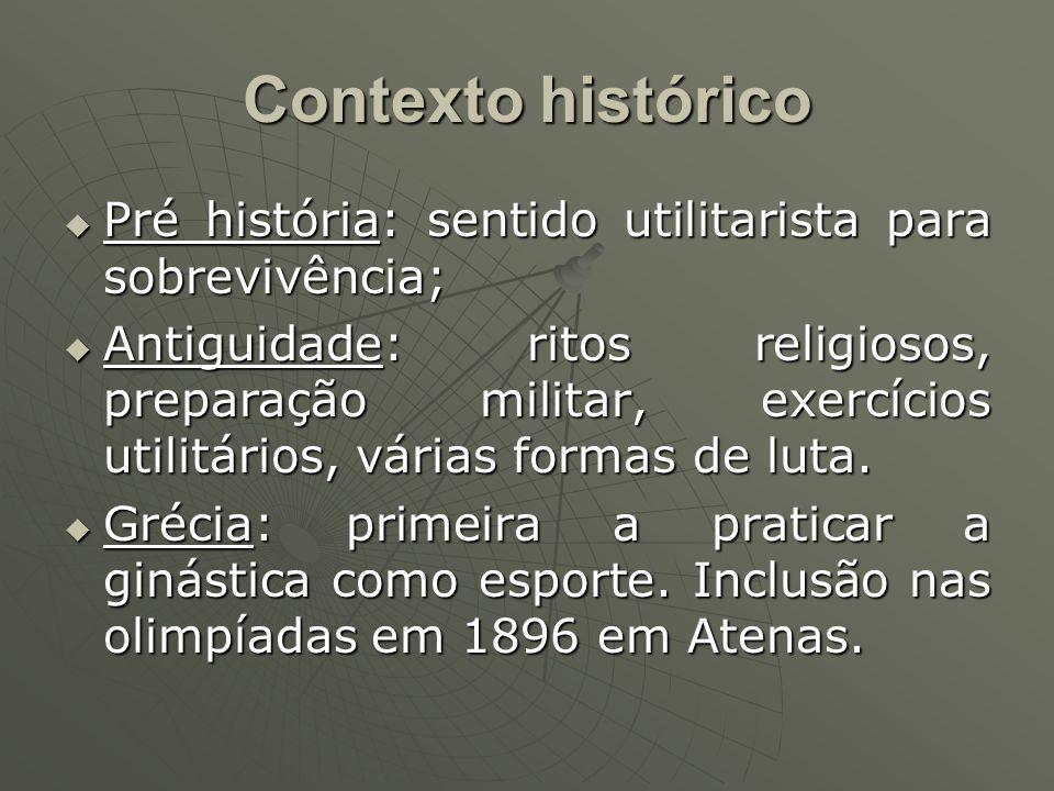 Contexto histórico Pré história: sentido utilitarista para sobrevivência; Pré história: sentido utilitarista para sobrevivência; Antiguidade: ritos religiosos, preparação militar, exercícios utilitários, várias formas de luta.
