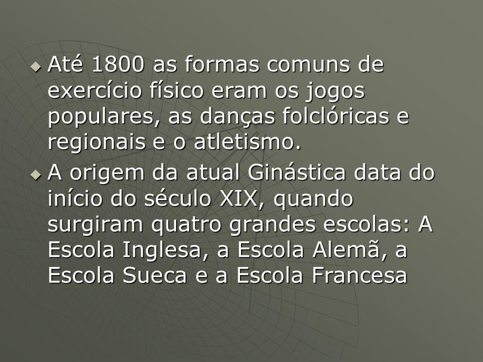 Até 1800 as formas comuns de exercício físico eram os jogos populares, as danças folclóricas e regionais e o atletismo. Até 1800 as formas comuns de e