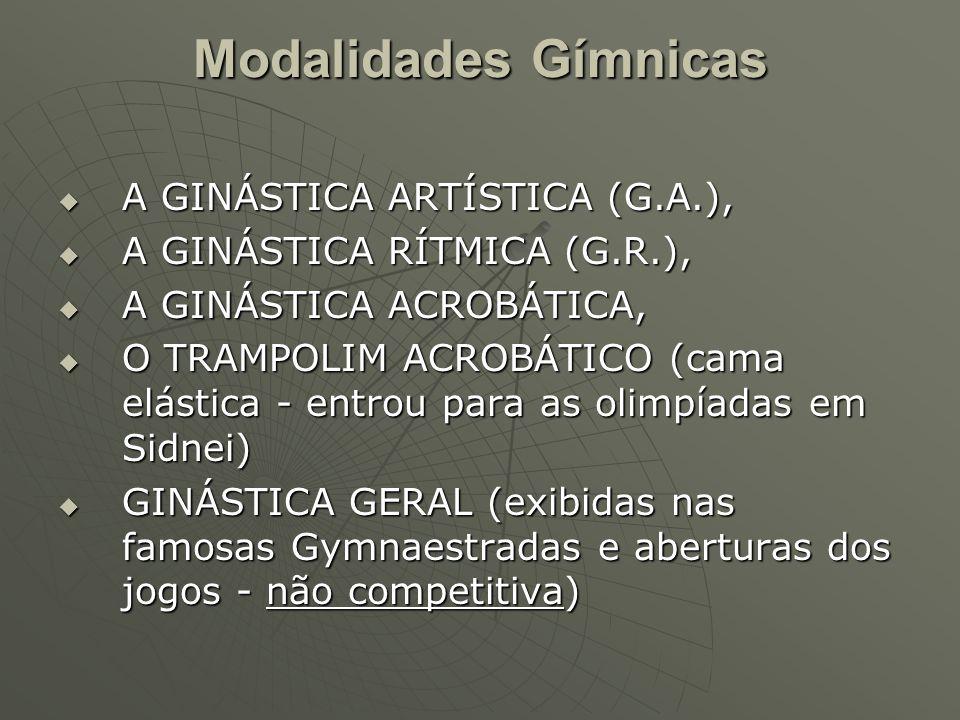 Modalidades Gímnicas A GINÁSTICA ARTÍSTICA (G.A.), A GINÁSTICA ARTÍSTICA (G.A.), A GINÁSTICA RÍTMICA (G.R.), A GINÁSTICA RÍTMICA (G.R.), A GINÁSTICA ACROBÁTICA, A GINÁSTICA ACROBÁTICA, O TRAMPOLIM ACROBÁTICO (cama elástica - entrou para as olimpíadas em Sidnei) O TRAMPOLIM ACROBÁTICO (cama elástica - entrou para as olimpíadas em Sidnei) GINÁSTICA GERAL (exibidas nas famosas Gymnaestradas e aberturas dos jogos - não competitiva) GINÁSTICA GERAL (exibidas nas famosas Gymnaestradas e aberturas dos jogos - não competitiva)