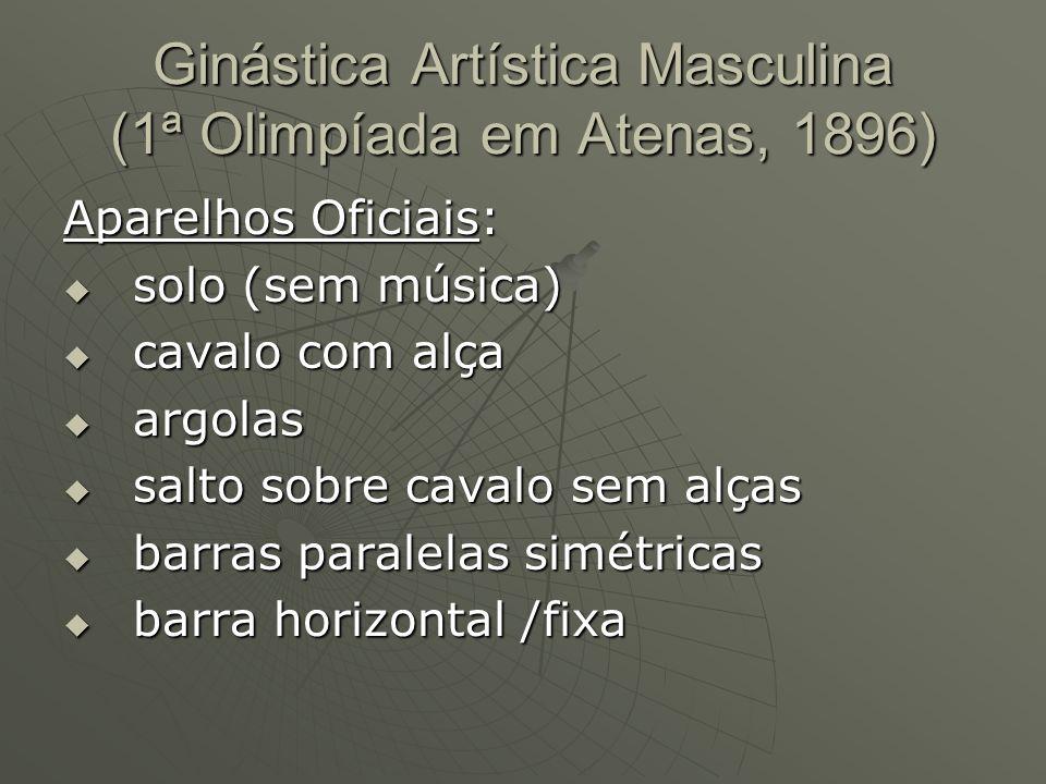 Ginástica Artística Masculina (1ª Olimpíada em Atenas, 1896) Aparelhos Oficiais: solo (sem música) solo (sem música) cavalo com alça cavalo com alça a