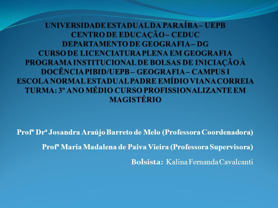 Profª Drª Josandra Araújo Barreto de Melo (Professora Coordenadora) Profª Maria Madalena de Paiva Vieira (Professora Supervisora) Bolsista: Kalina Fernanda Cavalcanti