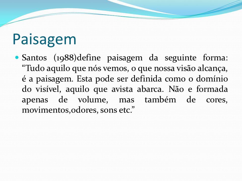 Paisagem Santos (1988)define paisagem da seguinte forma: Tudo aquilo que nós vemos, o que nossa visão alcança, é a paisagem.