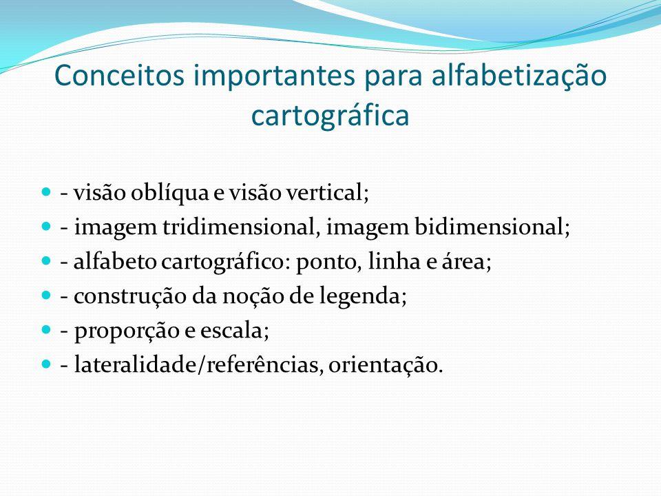 Conceitos importantes para alfabetização cartográfica - visão oblíqua e visão vertical; - imagem tridimensional, imagem bidimensional; - alfabeto cartográfico: ponto, linha e área; - construção da noção de legenda; - proporção e escala; - lateralidade/referências, orientação.