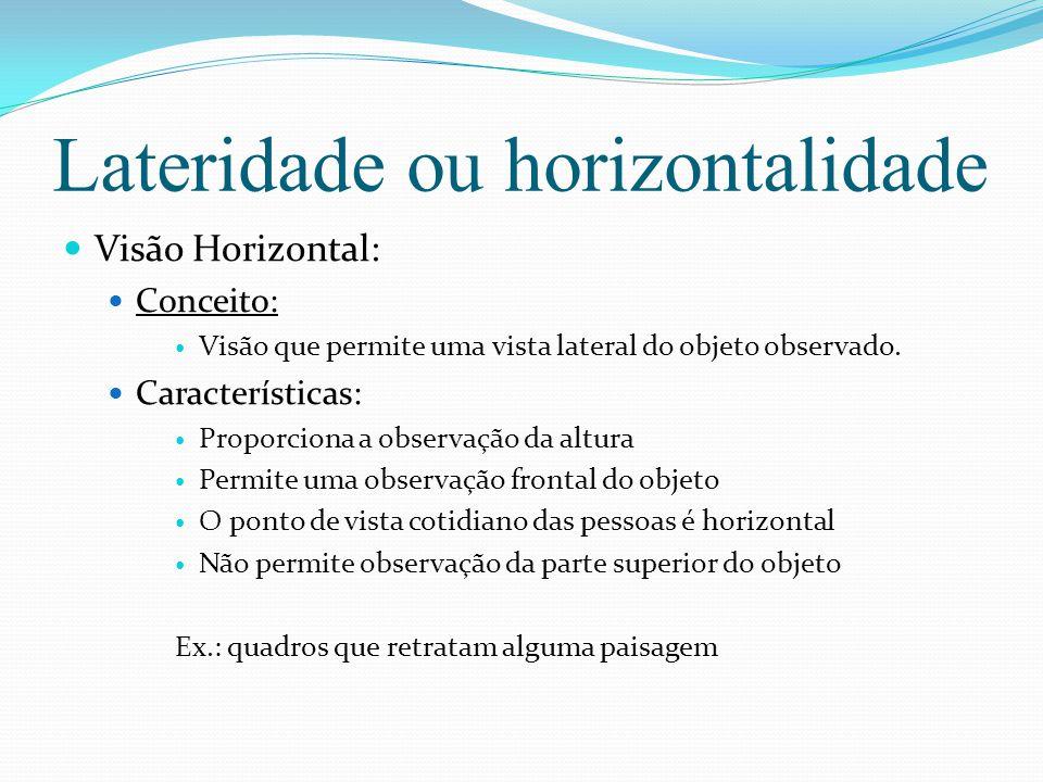 Lateridade ou horizontalidade Visão Horizontal: Conceito: Visão que permite uma vista lateral do objeto observado.