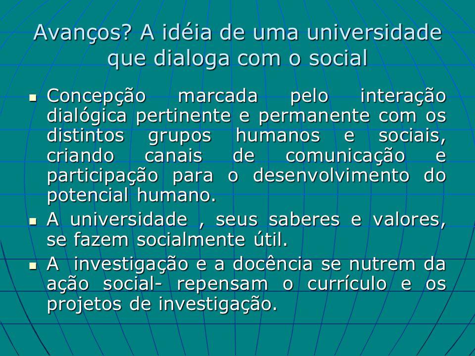 Avanços? A idéia de uma universidade que dialoga com o social Concepção marcada pelo interação dialógica pertinente e permanente com os distintos grup