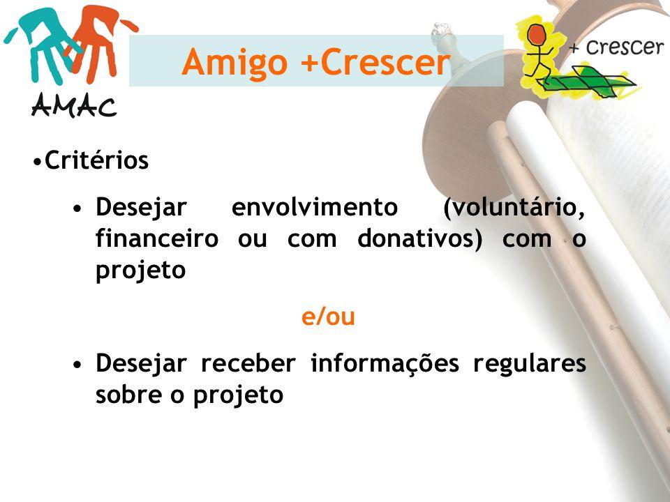 Critérios Desejar envolvimento (voluntário, financeiro ou com donativos) com o projeto e/ou Desejar receber informações regulares sobre o projeto Amig