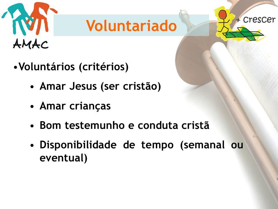 Voluntários (critérios) Amar Jesus (ser cristão) Amar crianças Bom testemunho e conduta cristã Disponibilidade de tempo (semanal ou eventual) Voluntar