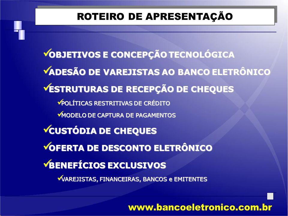 PADRONIZAR ESQUEMAS DE RESTRIÇÃO DE CRÉDITO NAS EMPRESAS INTEGRADAS PADRONIZAR ESQUEMAS DE RESTRIÇÃO DE CRÉDITO NAS EMPRESAS INTEGRADAS PROPORCIONAR ADMINISTRAÇÃO FINANCEIRA AOS MOLDES DOS FLUXOS DE LIQUIDAÇÃO DA REDE BANCÁRIA PROPORCIONAR ADMINISTRAÇÃO FINANCEIRA AOS MOLDES DOS FLUXOS DE LIQUIDAÇÃO DA REDE BANCÁRIA DILUIR CUSTOS E SERVIÇOS PELO PROCESSAMENTO DE RECEBÍVEIS NOS PONTOS DE VENDAS DILUIR CUSTOS E SERVIÇOS PELO PROCESSAMENTO DE RECEBÍVEIS NOS PONTOS DE VENDAS ESTRUTURAR PROCESSOS COM MENORES CUSTOS FINANCEIROS DE ANTECIPAÇÃO POR RECEBÍVEIS ESTRUTURAR PROCESSOS COM MENORES CUSTOS FINANCEIROS DE ANTECIPAÇÃO POR RECEBÍVEIS ANTECIPAR INFORMAÇÕES DE DÉBITO AO CLIENTE ATRAVÉS DOS CANAIS DE ACESSO ÀS RESPECTIVAS CONTAS CORRENTES ANTECIPAR INFORMAÇÕES DE DÉBITO AO CLIENTE ATRAVÉS DOS CANAIS DE ACESSO ÀS RESPECTIVAS CONTAS CORRENTES INIBIR OCORRÊNCIAS DE FRAUDES E MAL USO DE MEIOS DE PAGAMENTOS ATRAVÉS DE INTEGRAÇÀO ON-LINE ÀS BASES DE DADOS INIBIR OCORRÊNCIAS DE FRAUDES E MAL USO DE MEIOS DE PAGAMENTOS ATRAVÉS DE INTEGRAÇÀO ON-LINE ÀS BASES DE DADOS OBJETIVOS - VAREJISTAS