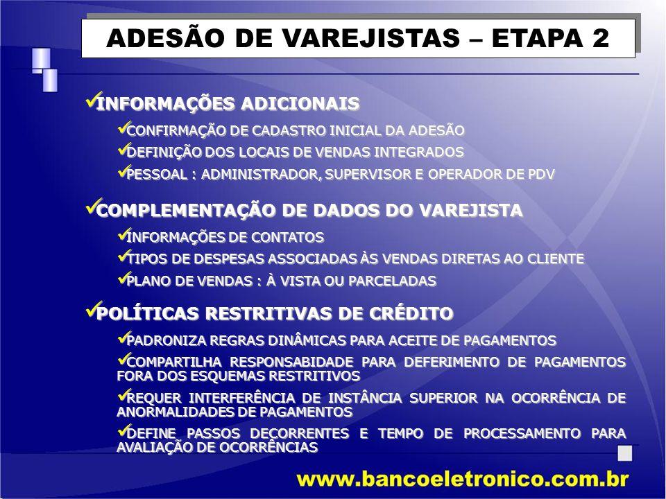 POLÍTICAS RESTRITIVAS DE CRÉDITO RESTRIÇÕES SOBRE CHEQUES RESTRIÇÕES SOBRE CHEQUES COMBINAÇÃO DE VALOR DE EMISSÃO, TEMPO DE ABERTURA DE CONTA, PRAZO DE COMPENSÃÇÃO E BANCO PARA AVALIAÇÀO DE ACEITE DE CHEQUE ALERTA SOBRE VENDAS ALERTA SOBRE VENDAS PADRONIZA REGRAS DE VERIFICAÇÃO SOBRE O MONTANTE DA FATURA, INDEPENDENTE DE VALORES DE PARCELAS, DETERMINANDO O TEMPO PARA ACEITE OU NÃO
