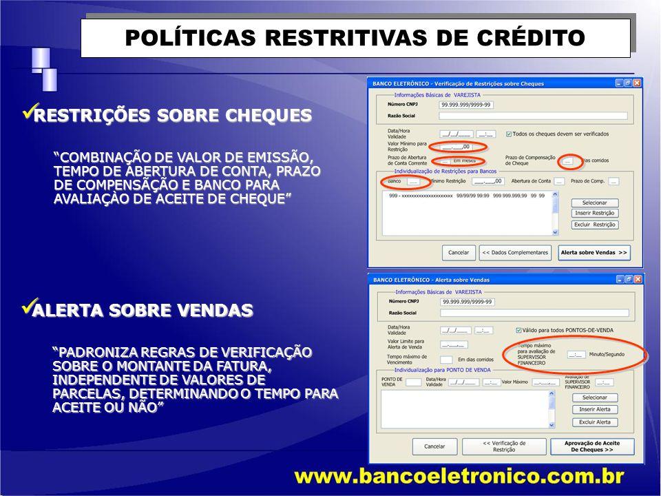 POLÍTICAS RESTRITIVAS DE CRÉDITO ACEITE DE CHEQUES ACEITE DE CHEQUES DEFINE RESPONSABILIDADES E AÇÕES NA OCORRÊNCIA DE ANORMALIDADES DE PAGAMENTOS PRAÇAS DE COMPENSAÇÃO PRAÇAS DE COMPENSAÇÃO PERMITE IMPLEMENTAR REGRAS DE ACEITES DE CHEQUES DA PRÓPRIA PRÁÇA, E PODE LIMITAR VALORES DE CHEQUES DE FORA DA PRAÇA