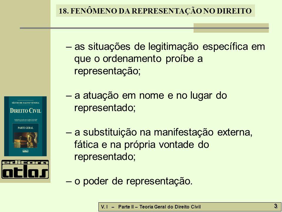 18. FENÔMENO DA REPRESENTAÇÃO NO DIREITO V. I – Parte II – Teoria Geral do Direito Civil 3 3 – as situações de legitimação específica em que o ordenam