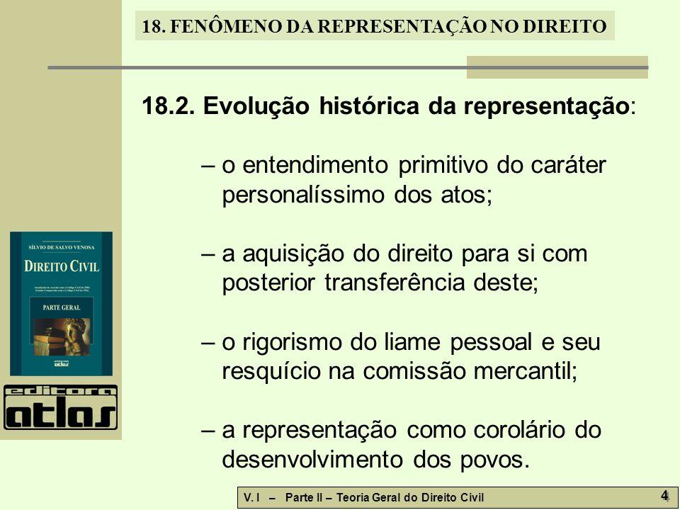 18. FENÔMENO DA REPRESENTAÇÃO NO DIREITO V. I – Parte II – Teoria Geral do Direito Civil 4 4 18.2. Evolução histórica da representação: – o entendimen