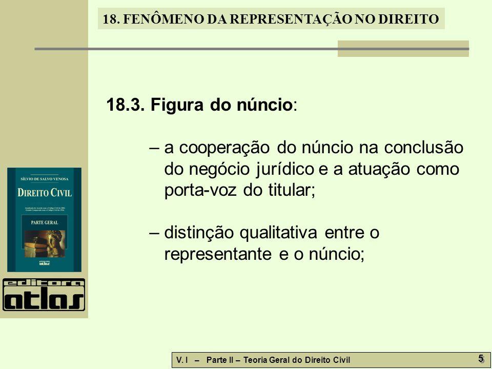 18. FENÔMENO DA REPRESENTAÇÃO NO DIREITO V. I – Parte II – Teoria Geral do Direito Civil 5 5 18.3. Figura do núncio: – a cooperação do núncio na concl