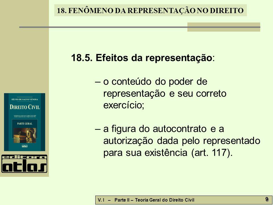 18. FENÔMENO DA REPRESENTAÇÃO NO DIREITO V. I – Parte II – Teoria Geral do Direito Civil 9 9 18.5. Efeitos da representação: – o conteúdo do poder de
