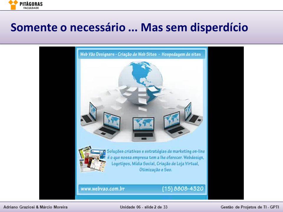 Adriano Graziosi & Márcio MoreiraUnidade 06 - slide 3 de 33Gestão de Projetos de TI - GPTI Custos Grupo de ProcessoProcesso PlanejamentoPlanejar a Gestão de Custos PlanejamentoEstimar os Custos PlanejamentoDeterminar o Orçamento MonitoramentoControlar os Custos