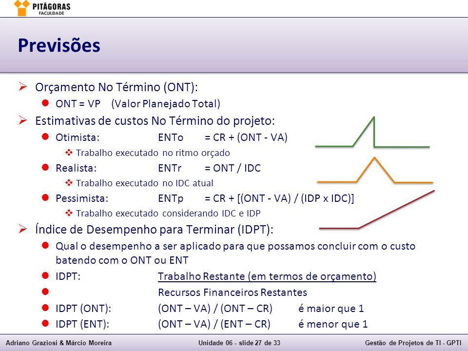Adriano Graziosi & Márcio MoreiraUnidade 06 - slide 27 de 33Gestão de Projetos de TI - GPTI Previsões Orçamento No Término (ONT): ONT = VP(Valor Planejado Total) Estimativas de custos No Término do projeto: Otimista:ENTo= CR + (ONT - VA) Trabalho executado no ritmo orçado Realista:ENTr= ONT / IDC Trabalho executado no IDC atual Pessimista:ENTp= CR + [(ONT - VA) / (IDP x IDC)] Trabalho executado considerando IDC e IDP Índice de Desempenho para Terminar (IDPT): Qual o desempenho a ser aplicado para que possamos concluir com o custo batendo com o ONT ou ENT IDPT:Trabalho Restante (em termos de orçamento) Recursos Financeiros Restantes IDPT (ONT):(ONT – VA) / (ONT – CR)é maior que 1 IDPT (ENT):(ONT – VA) / (ENT – CR)é menor que 1
