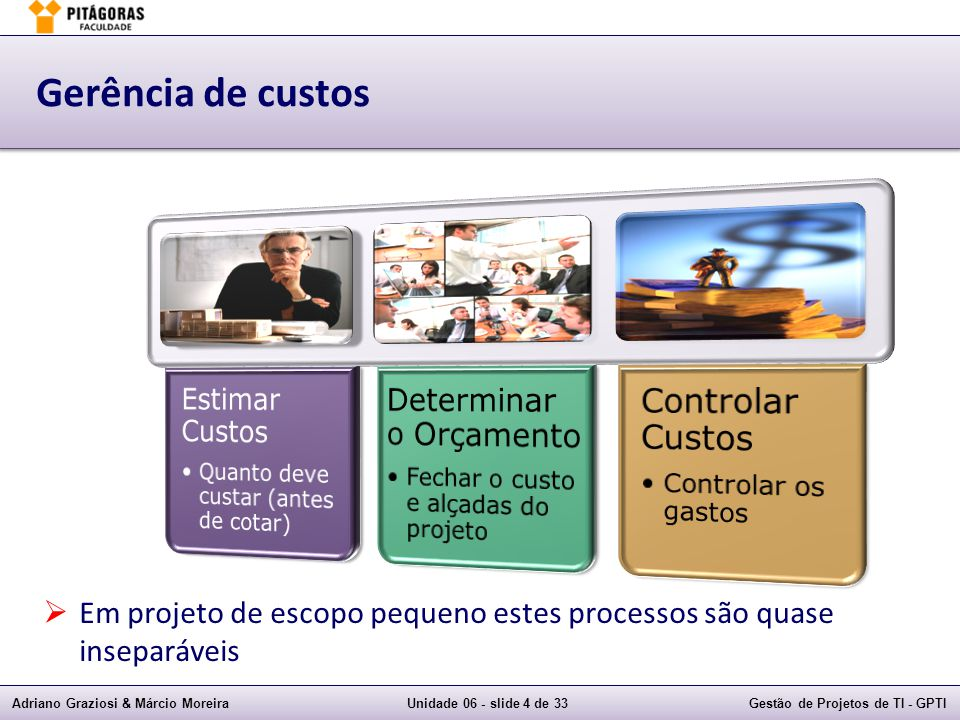 Adriano Graziosi & Márcio MoreiraUnidade 06 - slide 4 de 33Gestão de Projetos de TI - GPTI Gerência de custos Em projeto de escopo pequeno estes processos são quase inseparáveis