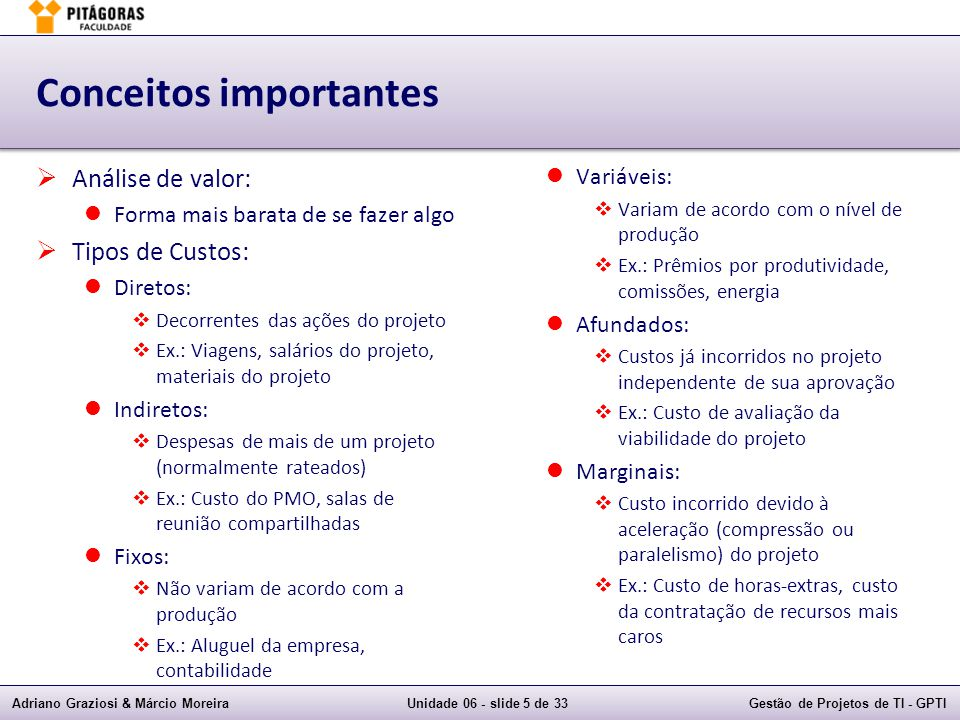 Adriano Graziosi & Márcio MoreiraUnidade 06 - slide 6 de 33Gestão de Projetos de TI - GPTI Planejar a gestão de custos
