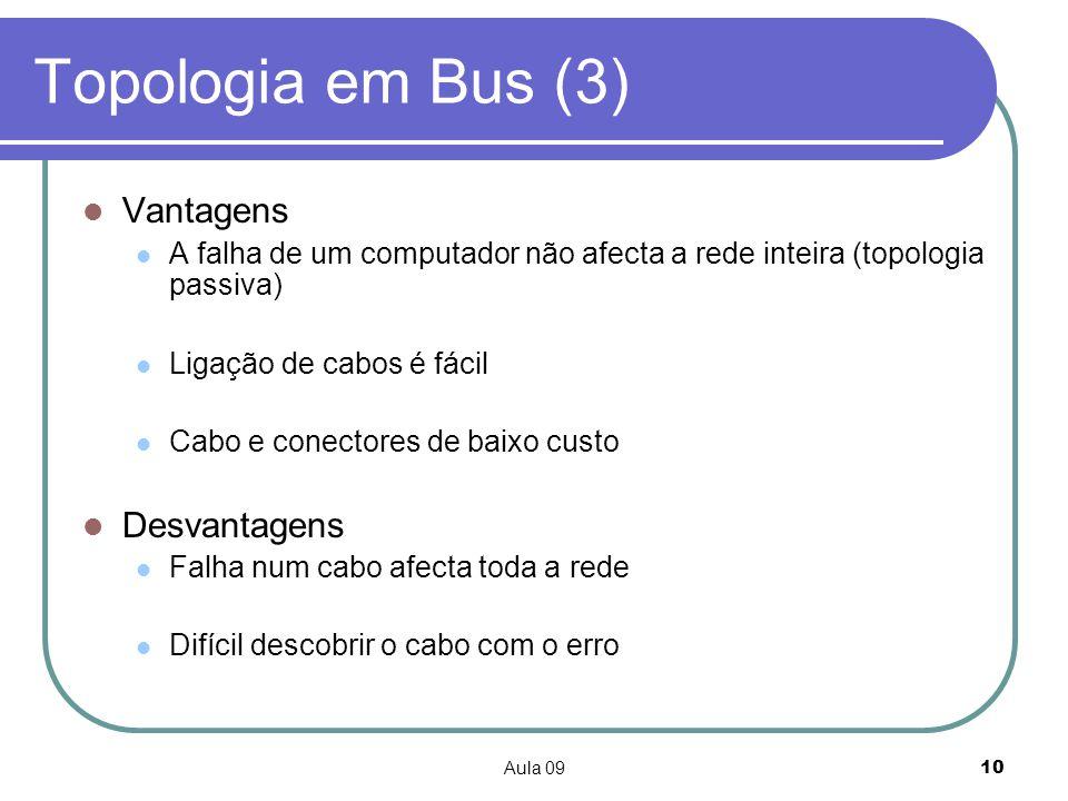 Aula 0910 Topologia em Bus (3) Vantagens A falha de um computador não afecta a rede inteira (topologia passiva) Ligação de cabos é fácil Cabo e conect
