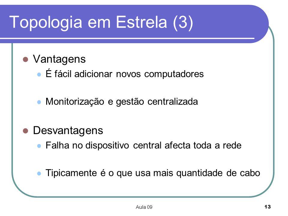 Aula 0913 Topologia em Estrela (3) Vantagens É fácil adicionar novos computadores Monitorização e gestão centralizada Desvantagens Falha no dispositiv