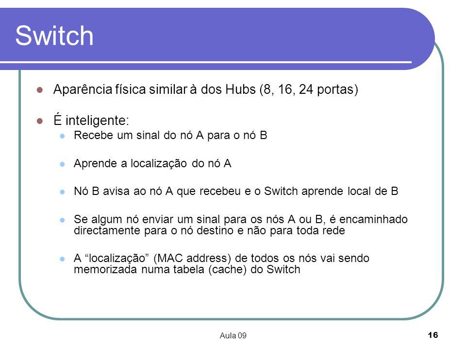 Aula 0916 Switch Aparência física similar à dos Hubs (8, 16, 24 portas) É inteligente: Recebe um sinal do nó A para o nó B Aprende a localização do nó
