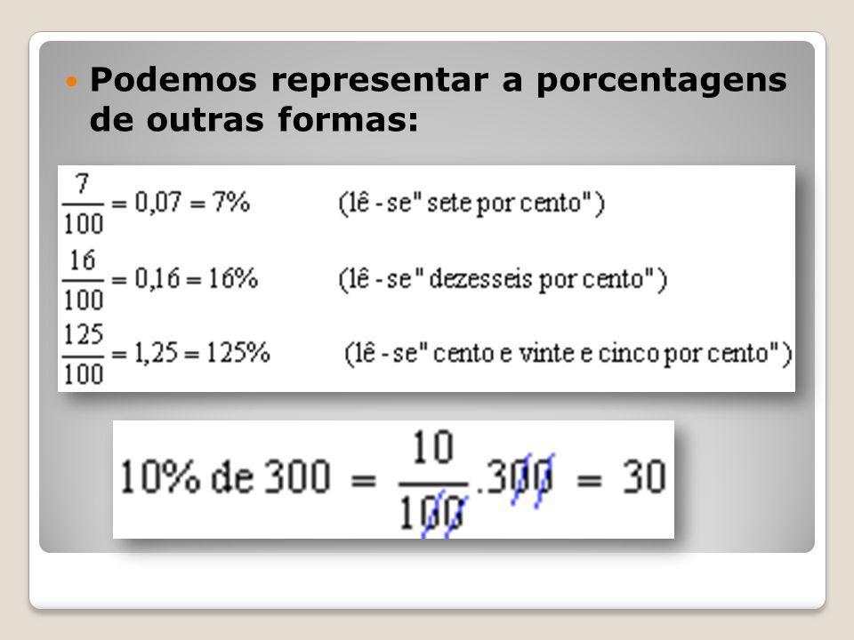 Podemos representar a porcentagens de outras formas: