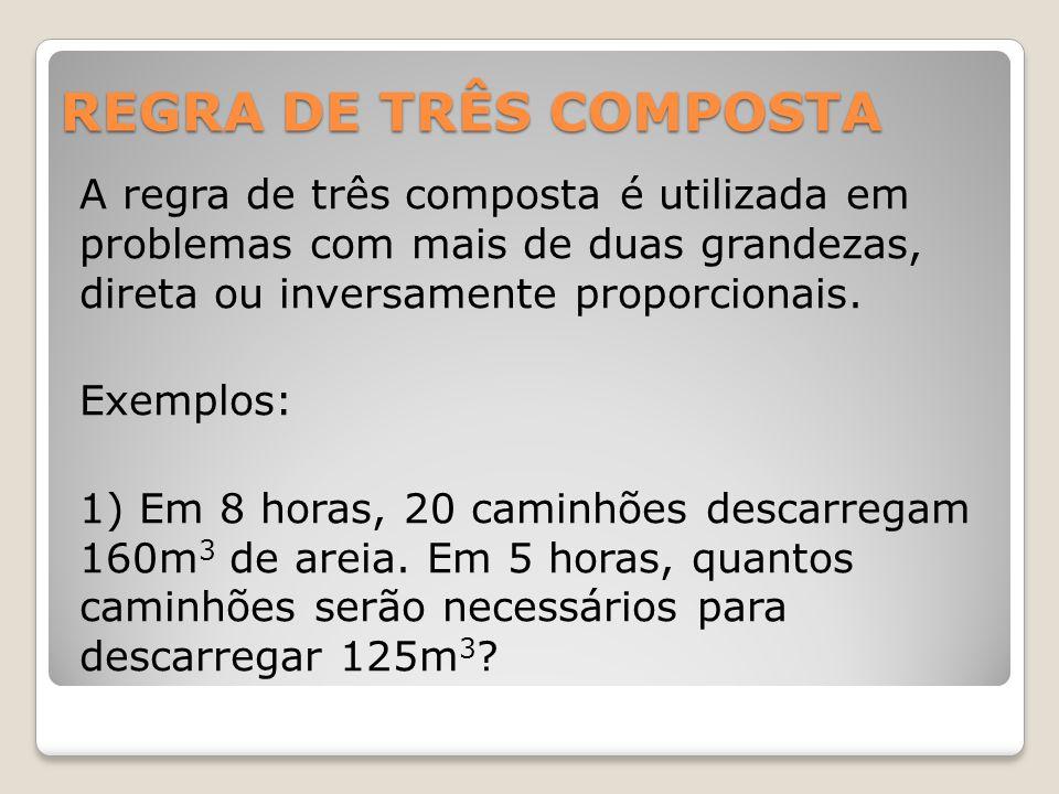 REGRA DE TRÊS COMPOSTA A regra de três composta é utilizada em problemas com mais de duas grandezas, direta ou inversamente proporcionais. Exemplos: 1