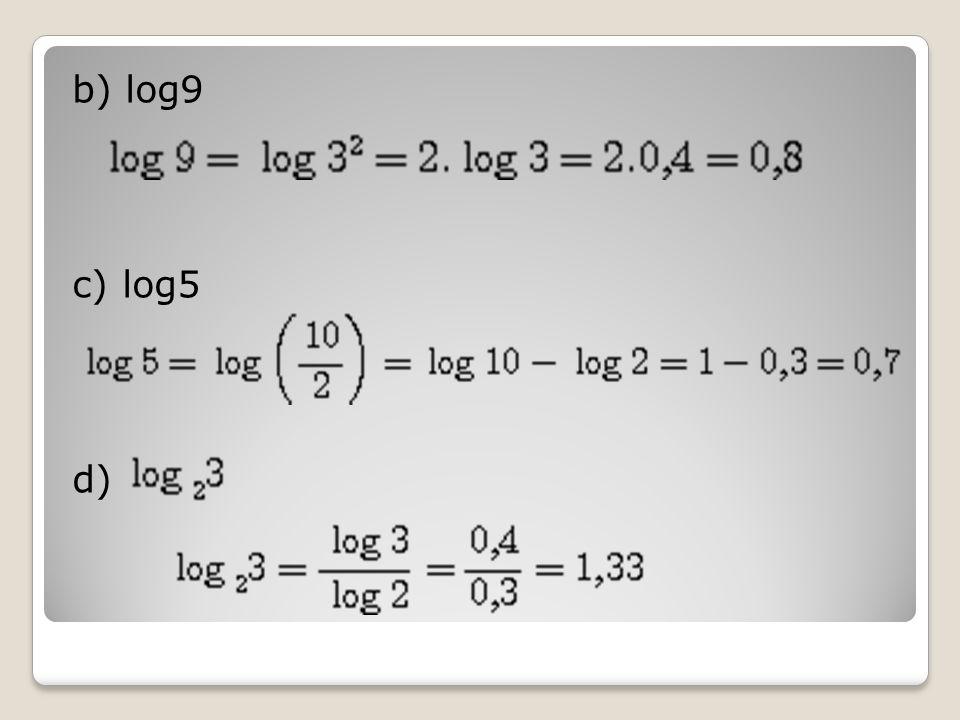 b) log9 c) log5 d)