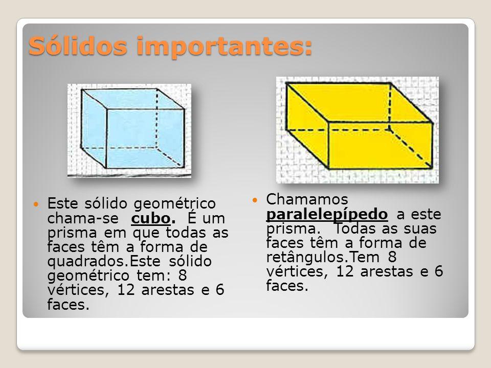 Sólidos importantes: Este sólido geométrico chama-se cubo. É um prisma em que todas as faces têm a forma de quadrados.Este sólido geométrico tem: 8 vé