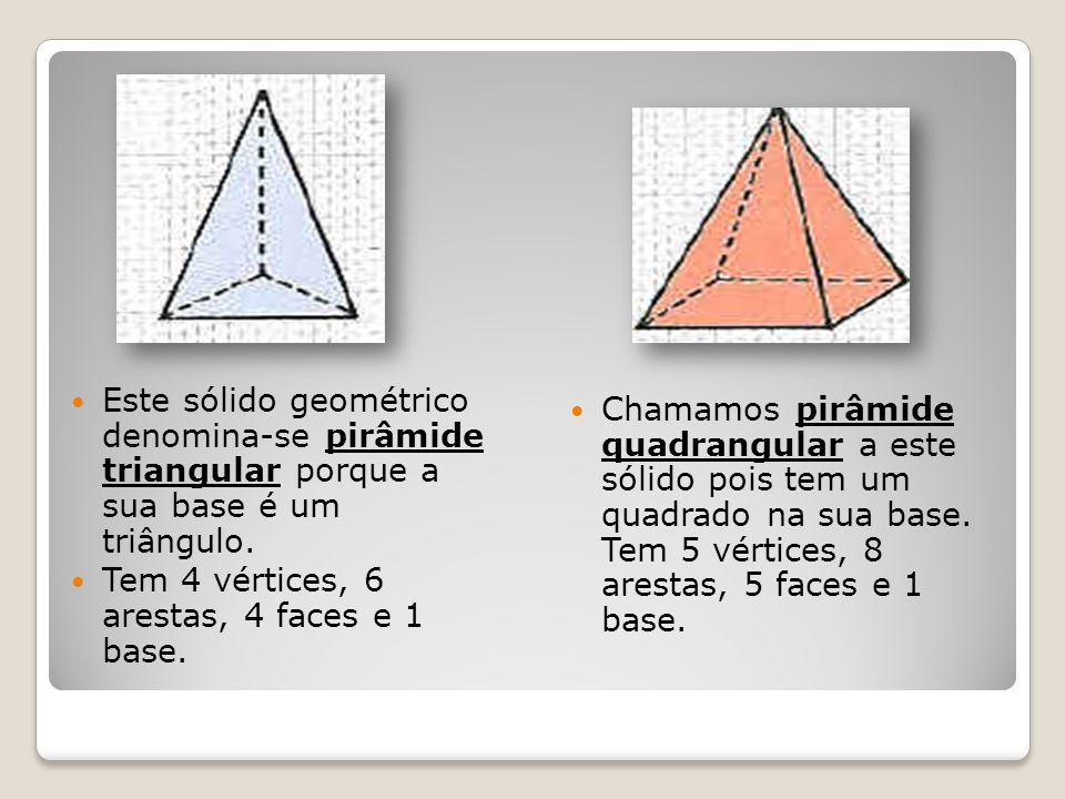Este sólido geométrico denomina-se pirâmide triangular porque a sua base é um triângulo. Tem 4 vértices, 6 arestas, 4 faces e 1 base. Chamamos pirâmid
