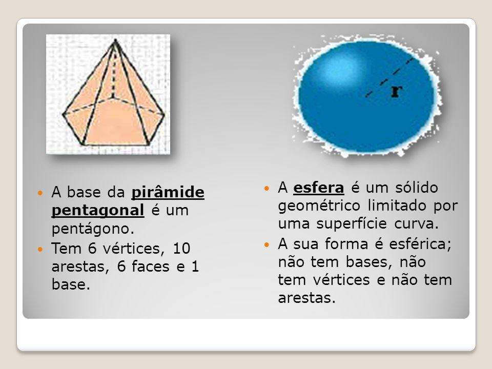 A base da pirâmide pentagonal é um pentágono. Tem 6 vértices, 10 arestas, 6 faces e 1 base. A esfera é um sólido geométrico limitado por uma superfíci