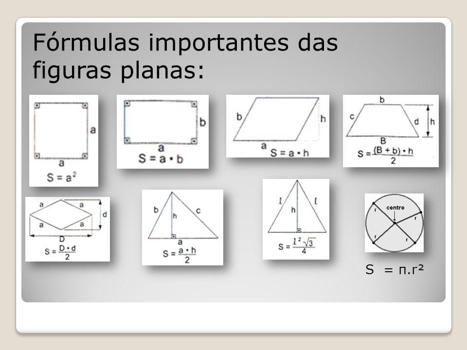 Fórmulas importantes das figuras planas: S = π.r²