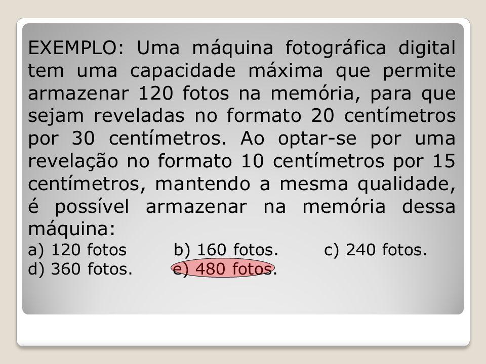 EXEMPLO: Uma máquina fotográfica digital tem uma capacidade máxima que permite armazenar 120 fotos na memória, para que sejam reveladas no formato 20