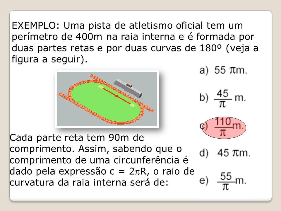 EXEMPLO: Uma pista de atletismo oficial tem um perímetro de 400m na raia interna e é formada por duas partes retas e por duas curvas de 180º (veja a f