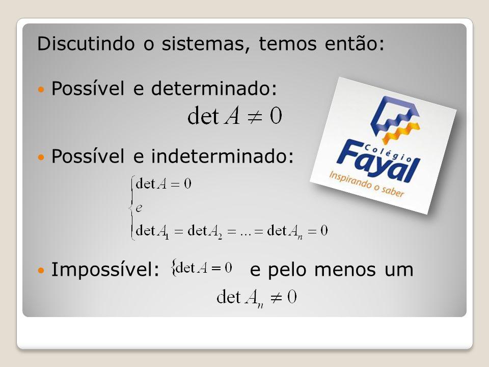 Discutindo o sistemas, temos então: Possível e determinado: Possível e indeterminado: Impossível: e pelo menos um