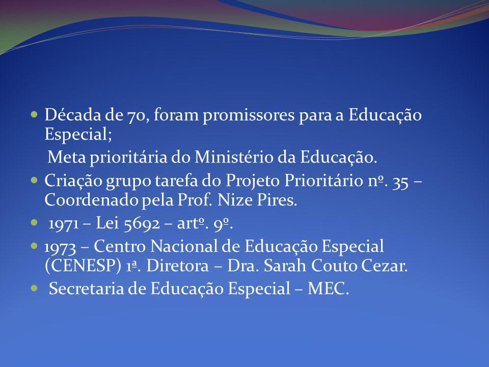 Década de 70, foram promissores para a Educação Especial; Meta prioritária do Ministério da Educação.